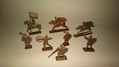 Lot of 8 vintage Soviet USSR old ancient Russian warriors plastic soldiers toy