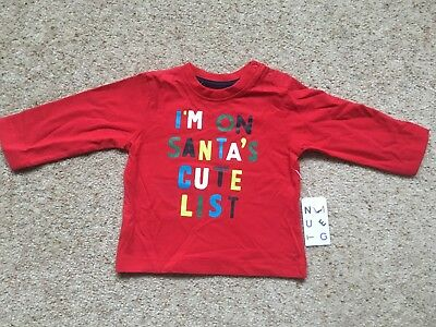Baby Boys Long Sleeved Christmas Top From Nutmeg  Age 3-6 Months  Bnwt