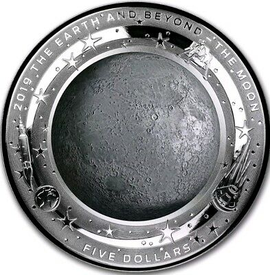 2019 1 Oz PROOF Silver $1 THE MOON - DOMED EARTH AND BEYOND Coin.