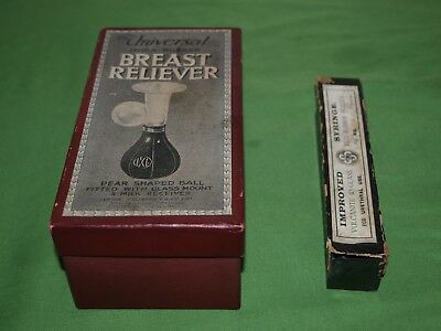 Antique Universal Breast Reliever and Urethral Syringe both complete and boxed
