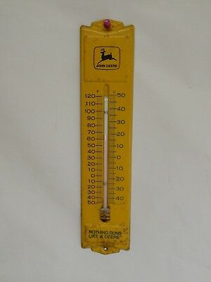 "Vintage John Deere ""Nothing Runs Like A Deere"" Thermometer - ""54"" - USA - WORKS"