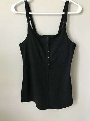 Gilligan O'Malley Nursing Henley Tank Top Black Size Small NWOT