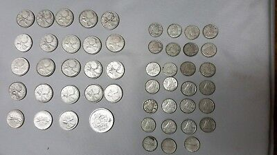 51-Qty Canada Silver Coin Lot Quarters & Dimes & Half Canadian 1939-1968