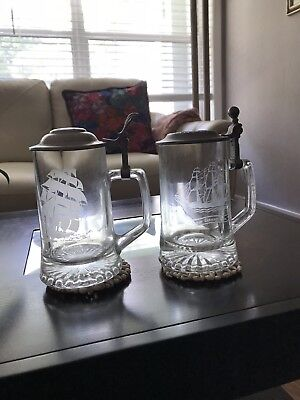Pair Of Old Spice Lidded Beer Stein Clear Glass Etched Clipper Ship Ariel 1866