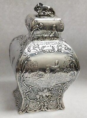 Antique Germany Hanau 800 Silver Figural Lion Scenic Rococo Tea Caddy