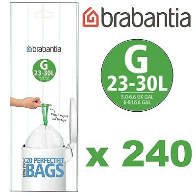 1 Box of 240 Genuine Brabantia 30L Size G White Replacement Plastic Bin Liners