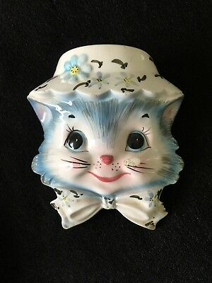 Vintage Lefton Miss Priss BLUE Kitty CAT Wall Pocket #1509