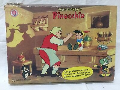 Vintage Walt Disney PINOCCHIO Rubber Stamp Set Art 350 Italy Complete