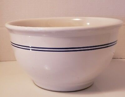 1940's Vintage Gibson China Large Heavy White Mixing Bowl With Blue Stripes