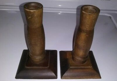 Mission? Pair of Wooden Candlesticks Candleholders 5 3/8""