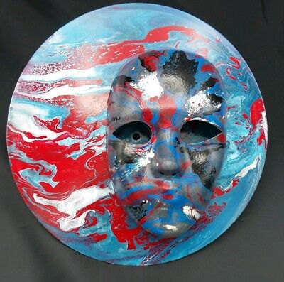 "Original Fluid Acrylic Pour Painting on 12"" Vinyl Record with Decorative Mask"