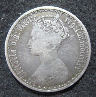 """1870 Great Britain """"Gothic"""" Florin Silver Better Condition"""
