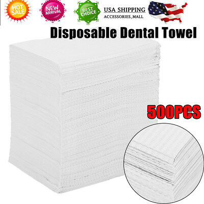 500pcs Disposable Dental-Tattoo bibs, 2-ply Tissue + 1-Poly backed, 12x17cm