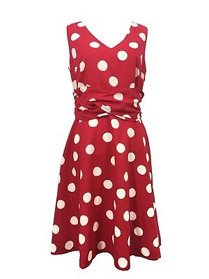 Women's Boden Lois Dress Size 6 Red & White Polka Dot Linen Cotton Blend Lined