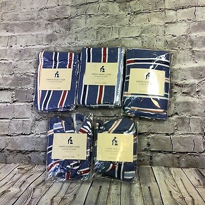 Pottery Barn Striped Basket Liners Set Of 5 Medium Blue Multicolor New