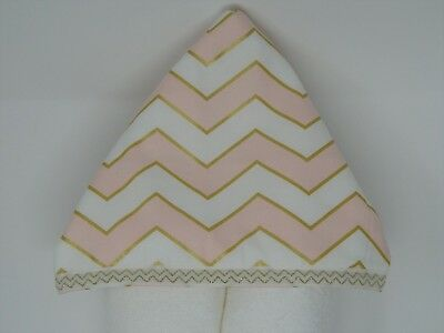 NWT Pink & Gold Chevron Hooded Bath Towel Baby Toddler Bath Pool Girl Metallic