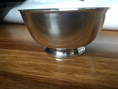 """Paul Revere Reproduction Oneida Usa Silver Plated Footed Serving Bowl 8"""""""