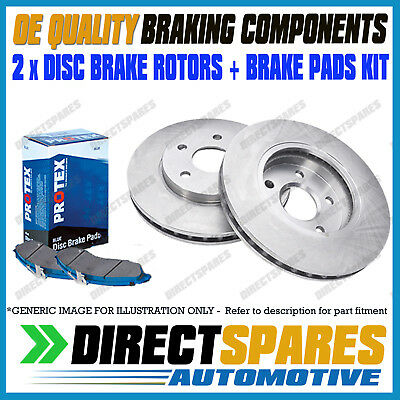 2 Front Disc Brake Rotors Holden Commodore Vt Vu Vx Vy Vz W/ Pads Dr040 Db1331