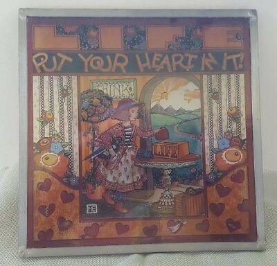 "Mary Engelbreit ""Life, Put Your Heart In It"" Stained Glass Panel by Glassmasters"