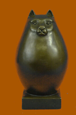 Bronze Sculpture Chubby Cat Signed Handcrafted Figurine Figure Statue Hot Cast
