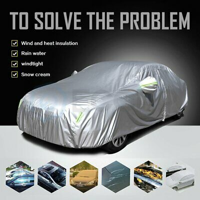 Silver/Red 190t Polyester Car/Auto/Vehicle Cover with a user-friendly zipper