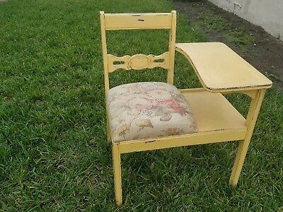 Vintage Entry Chair Gossip Bench Telephone Table Shabby Cottage PRICE  REDUCED