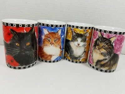 """Set of 4 Vintage """"Cat N' Mouse"""" Flowered Mugs by Maria Ryan for Inhesion, MINT!"""