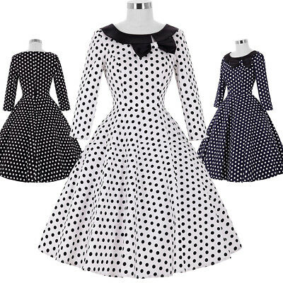 Dress Prom Size Pinup 1940's Retro Housewife Vintage Party Swing A-line 50s 60s