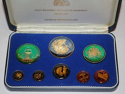 Colorized FIRST NATIONAL COINAGE OF BARBADOS 1973 PROOF SET OF 8 IN CASE