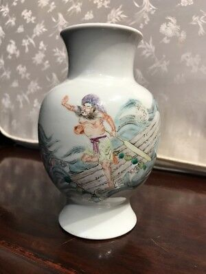 Estate Old Chinese Antique Qianlong Family Rose Porcelain Vase Qing Asian China