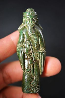 Excellent old jade carved Ancient people 曹国舅 Statue/Pendant   F69