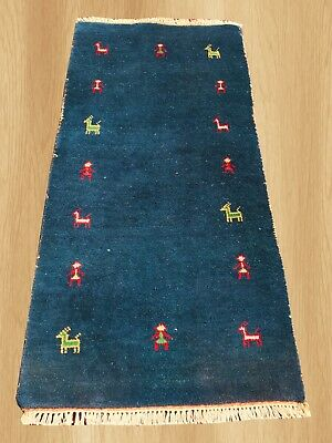 Authentic Hand knotted Pictorial Indo Gabbeh Wool Area Rug 4.7 x 2.4 FT (5089)