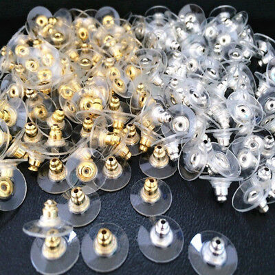 100Pcs Earring Backs Stoppers Disc Plug Ear Plug Stud Ear Post Nuts DIY Jewelry
