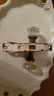 Antique Glass Door Knob with Escutcheon Plate and lock insert Vintage Farmhouse!