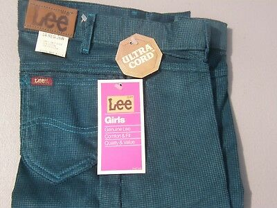 "Vintage NWT's LEE Ultra Cord Girls London Riders 14 Reg Wst 26"" Inseam 30"" Green"