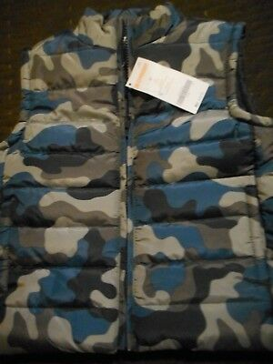 GYMBOREE NWT Boy  3T years brown blue camo puffer vest zipped front pockets