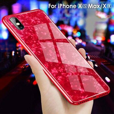 Luxury Temper Glass Armor Marble Glitter Case Cover For iPhone Xs Max XR 8 Plus