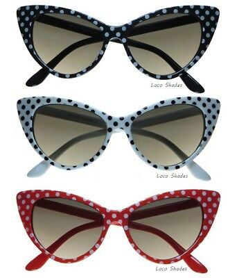 4af457426c20b POLKA DOT CAT EYE SUNGLASSES Retro Design Vintage Style Fashion Women s  Sunnies