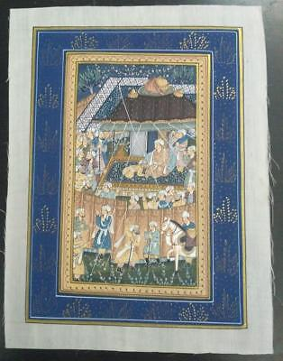 Indo Persian Painting Miniature Old Antique Handmade Vintage Art Silk #23158