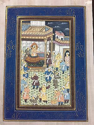 Indo Persian Old Antique Miniature Handmade Painting, Vintage India Art #7015