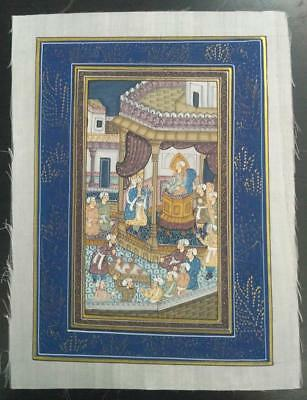 Indo Persian Painting Miniature Old Antique Handmade Vintage Art Silk #23163