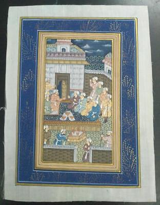 Indo Persian Painting Miniature Old Antique Handmade Vintage Art Silk #23161