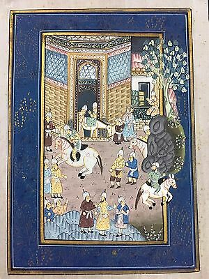 Indo Persian Old Antique Miniature Handmade Painting, Vintage India Art #7030