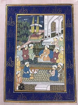 Indo Persian Old Antique Miniature Handmade Painting, Vintage India Art #7019
