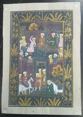 Indo Persian Painting Miniature Old Antique Handmade Vintage Art Silk #23202