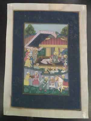 Indo Persian Painting Miniature Old Antique Handmade Vintage Art Silk #23232