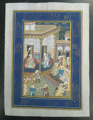 Indo Persian Painting Miniature Old Antique Handmade Vintage Art Silk #23188