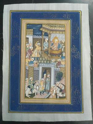 Indo Persian Painting Miniature Old Antique Handmade Vintage Art Silk #23160
