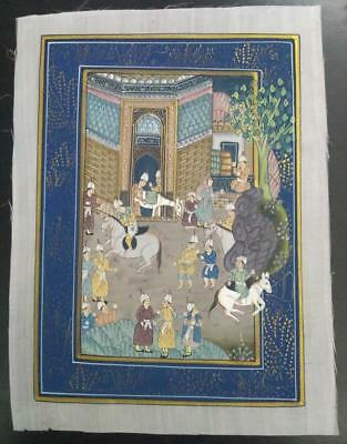 Indo Persian Painting Miniature Old Antique Handmade Vintage Art Silk #23177