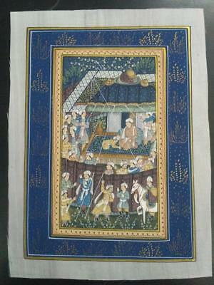 Indo Persian Painting Miniature Old Antique Handmade Vintage Art Silk #23189